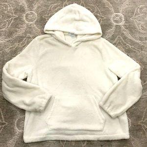 Forever 21 White Plush Kangaroo Pocket Hoodie